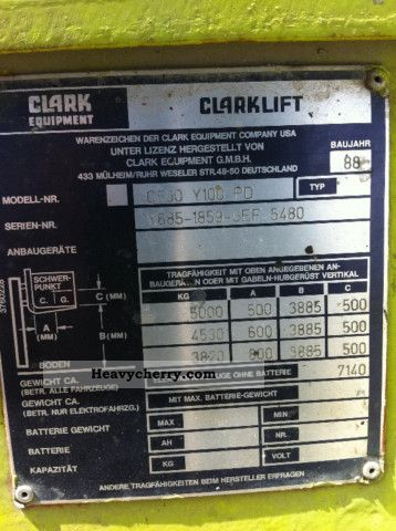 Clark c500 y100 pd capacity 5000 kg 1988 front mounted for Century ac motor serial number lookup