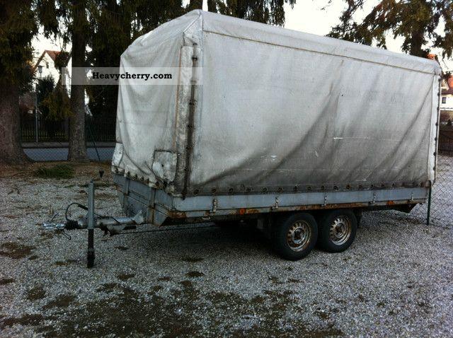 1986 Heinemann  Plan trailer GG 2t 350cm without tüv Trailer Stake body and tarpaulin photo