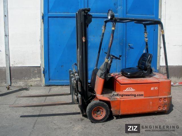 1992 Linde  E 16 Forklift truck Front-mounted forklift truck photo