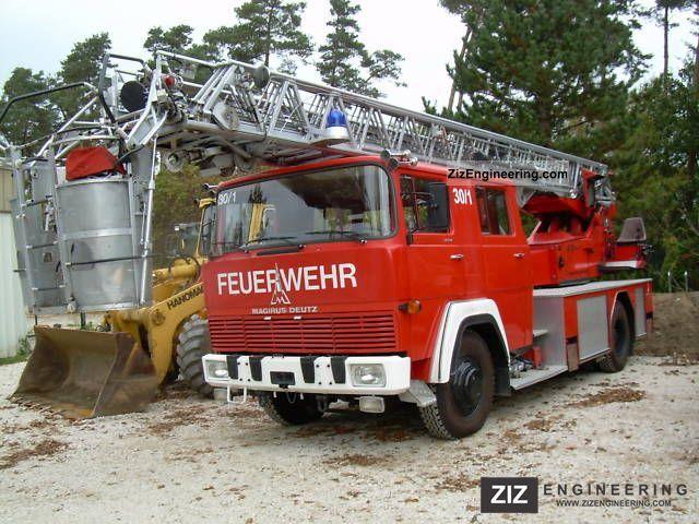 1975 Magirus Deutz  FM 170 D 12 F aerial ladder fire truck with crane Truck over 7.5t Hydraulic work platform photo