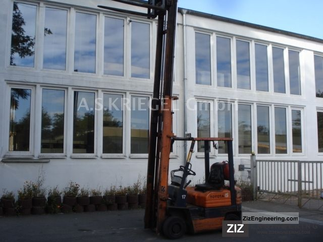 1988 Toyota  42-5 FGF 15, Tele / 4.45m high visibility, LPG, side shift Forklift truck Front-mounted forklift truck photo