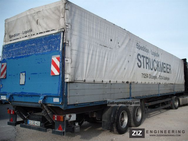 1992 Wackenhut  S18L dropside flatbed semitrailer Plane liftgate Semi-trailer Stake body and tarpaulin photo