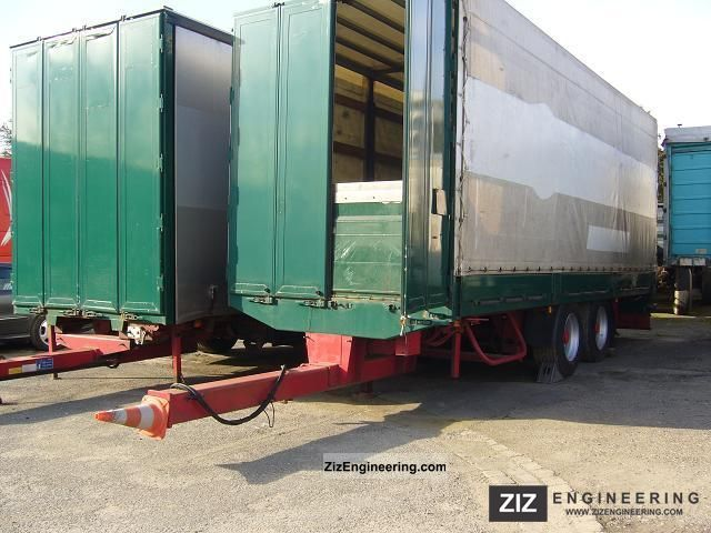 1998 Wackenhut  55 m3 Lift axle jumbo LIFTS Trailer Stake body and tarpaulin photo