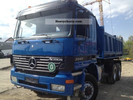 mercedes benz actros 3343 6x6 all wheel 2001 three sided tipper truck photo and specs. Black Bedroom Furniture Sets. Home Design Ideas