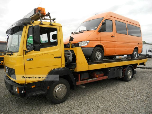 1990 Mercedes-Benz  817 tow truck, sliding 5.7 m plateau, glasses Van or truck up to 7.5t Breakdown truck photo