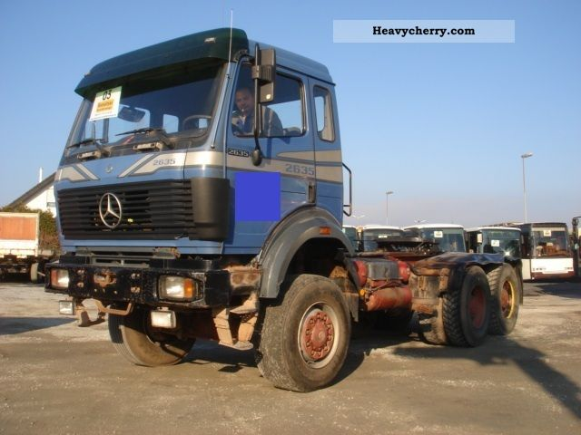 mercedes benz 2635 v8 1 hand sheet sheet wheel truck 6x6 1992 heavy load semi trailer photo and. Black Bedroom Furniture Sets. Home Design Ideas