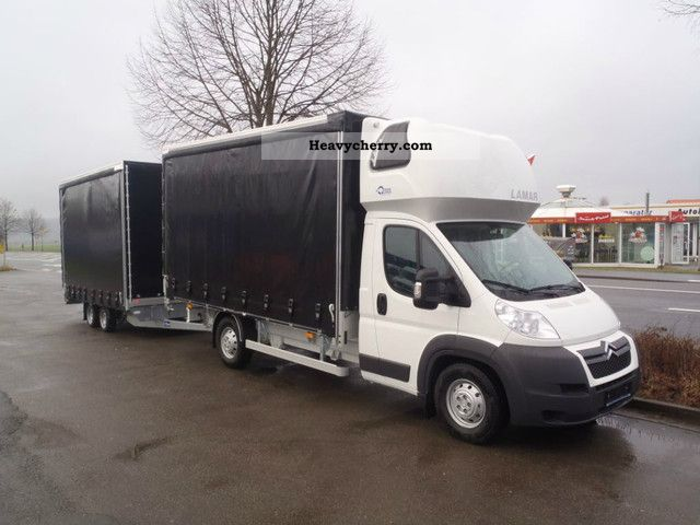2011 Peugeot  Boxer curtainsider 177 hp with trailer Van or truck up to 7.5t Stake body and tarpaulin photo