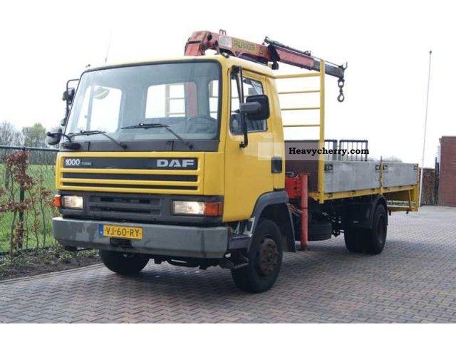 1990 DAF  LF 45 1000 OPEN PLATFORM LAADBAK + PALFINGER PK Truck over 7.5t Stake body photo