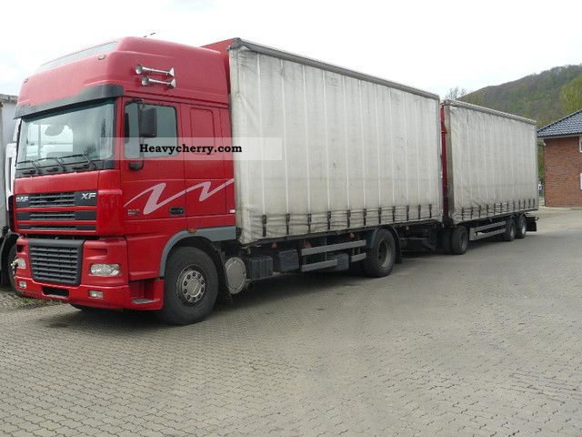 2003 DAF  XF 95 480 4X2 + 3-axle ANH Truck over 7.5t Stake body and tarpaulin photo