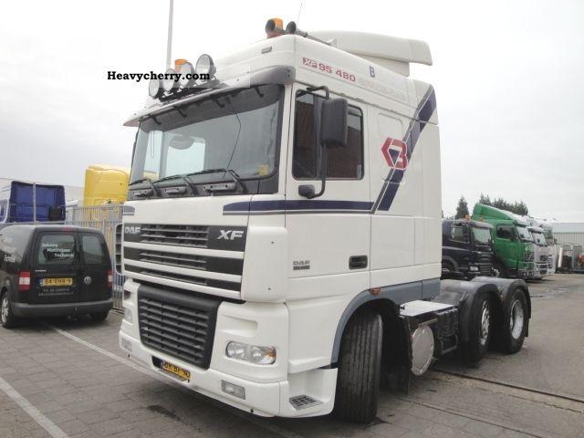 2005 DAF  XF 95.480 6X2 SC FTG hydraulic DEB Semi-trailer truck Heavy load photo