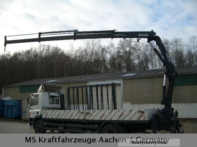 1997 DAF  CF 360 flatbed glass transport Crane Atlas 125.1 Truck over 7.5t Stake body photo