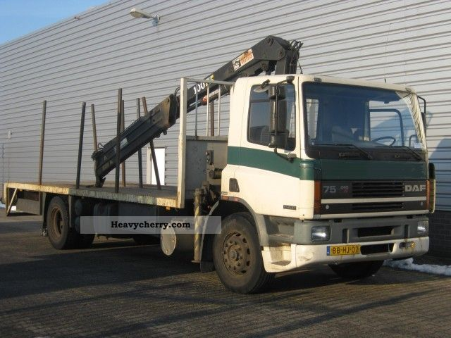 1994 DAF  FA 75 240 + HIAB 100AW Truck over 7.5t Stake body photo