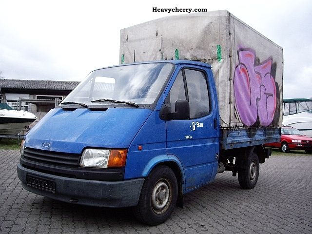 Ford Transit 100 flatbed 1990 Stake body and tarpaulin ...