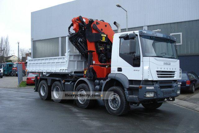 2007 Iveco  Trakker 440 with Palfinger PK85002 crane jib + Semi-trailer truck Heavy load photo