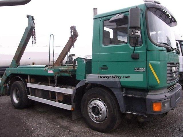 1996 MAN  19 293 AK11 with a kiln, leaf / leaf, split German Truck over 7.5t Dumper truck photo