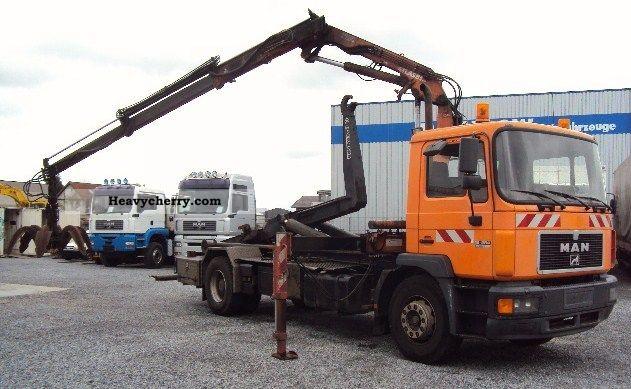 1999 MAN  18 264 + Atlas 85.1 crane lift hook + hook Truck over 7.5t Roll-off tipper photo