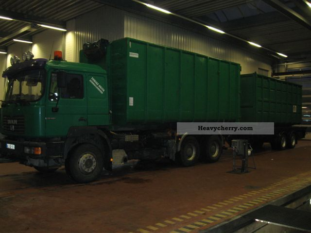 1999 MAN  26 414 FDC-rolling with rear crane lifting Truck over 7.5t Roll-off tipper photo