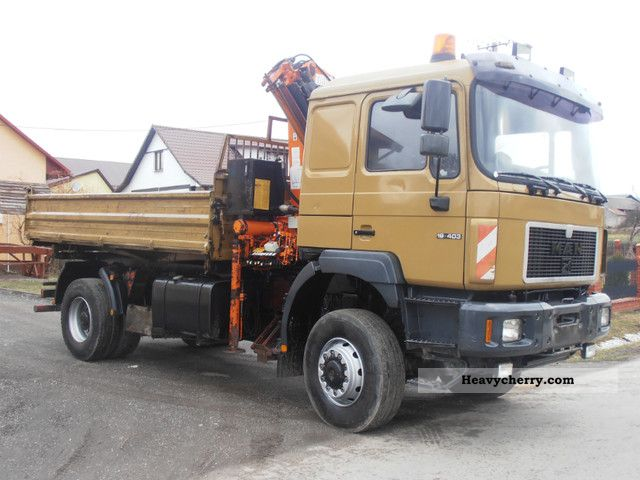 1997 MAN  19 403 4x4 KIPER.HDS.WYWROT, DŹWIG Truck over 7.5t Three-sided Tipper photo