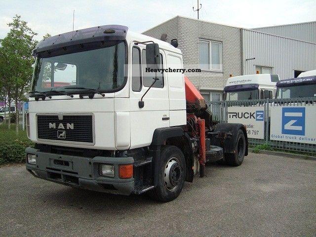 1992 MAN  19.302FLT WITH PALFINGER 16T / M CRANE Semi-trailer truck Standard tractor/trailer unit photo