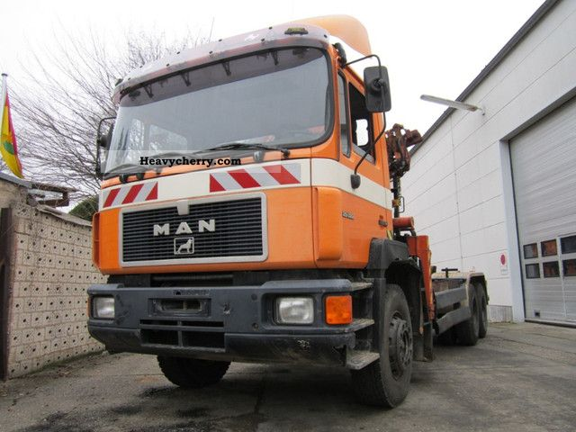 1992 MAN  25 322, 6x4 with crane Truck over 7.5t Roll-off tipper photo