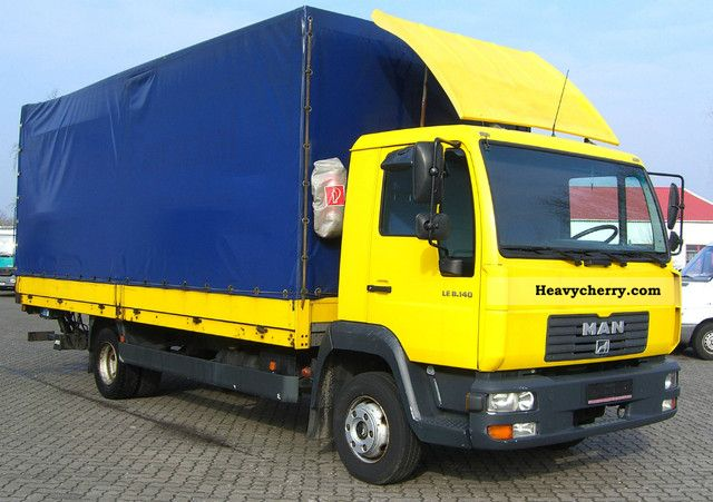 2003 MAN  LE 140C L2000 flatbed tarp liftgate EURO3 Van or truck up to 7.5t Stake body and tarpaulin photo