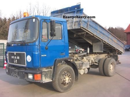1992 MAN  FK 18 232, 3 SEATER, trailer hitch, 337 TKM Truck over 7.5t Three-sided Tipper photo