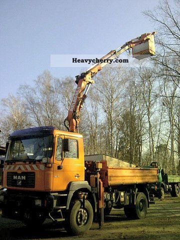 1999 MAN  19 314 FAK radio crane basket winter maintenance work Truck over 7.5t Hydraulic work platform photo