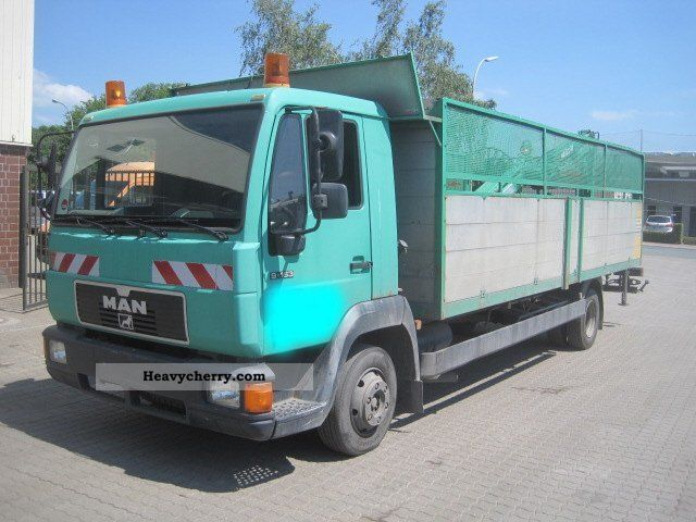 1997 MAN  9163 platform with rear crane Truck over 7.5t Stake body photo
