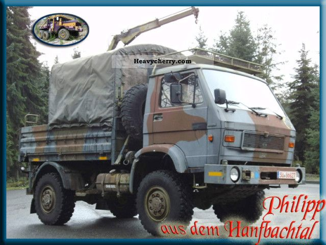 1990 MAN  VW + 8.136FAE with crane winch Army Van or truck up to 7.5t Stake body and tarpaulin photo