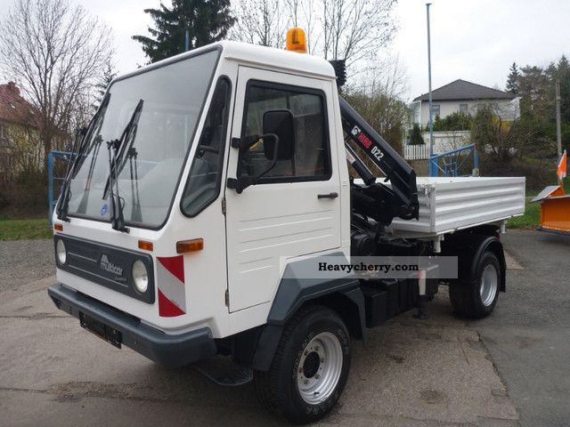 multicar m26 4x4 with crane 1998 three sided tipper truck photo and specs. Black Bedroom Furniture Sets. Home Design Ideas