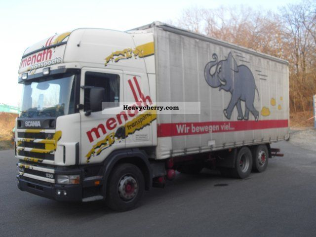 2000 Scania  R144 530 6x2 Topline 7.35 M P + P retarder Truck over 7.5t Stake body and tarpaulin photo