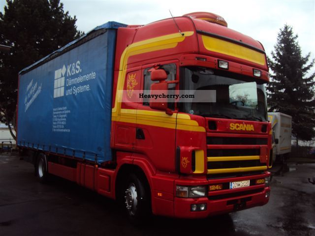 2000 Scania  124L 420 Topline Edscha curtainsider + / auxiliary air Truck over 7.5t Stake body and tarpaulin photo