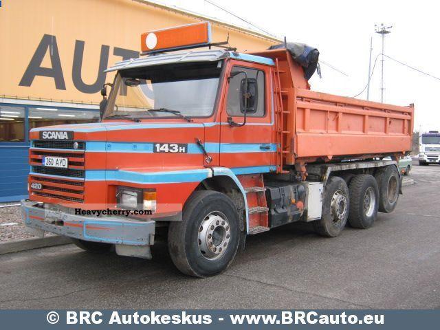 scania t 143 hl 420 8x2l 1992 tipper truck photo and specs