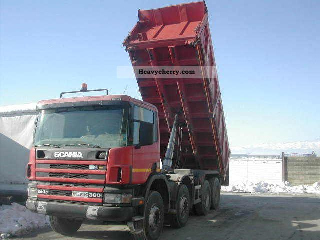 scania cv 124 360 8x4 1998 tipper truck photo and specs
