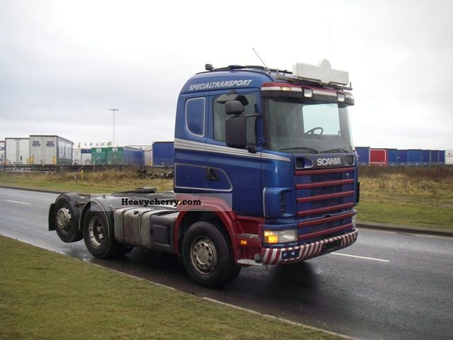1999 Scania  144/460 6x2 tilt hydraulic 114-164 Semi-trailer truck Heavy load photo