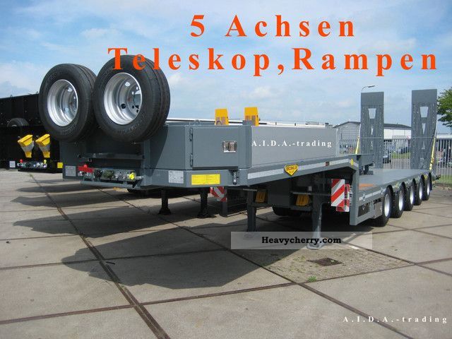 2012 Broshuis  5 AOU telescope, New, 5-axis with ramps Semi-trailer Low loader photo
