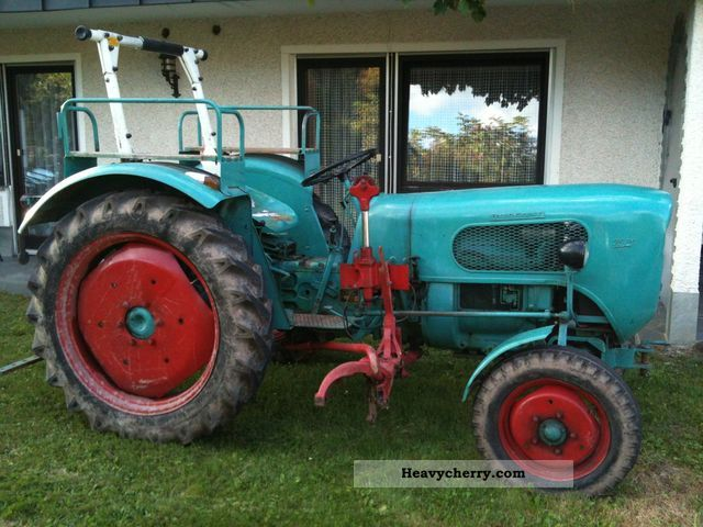 1961 Guldner  Güldner A3K Burgundy with mower and hydraulic Pappbrief Agricultural vehicle Tractor photo